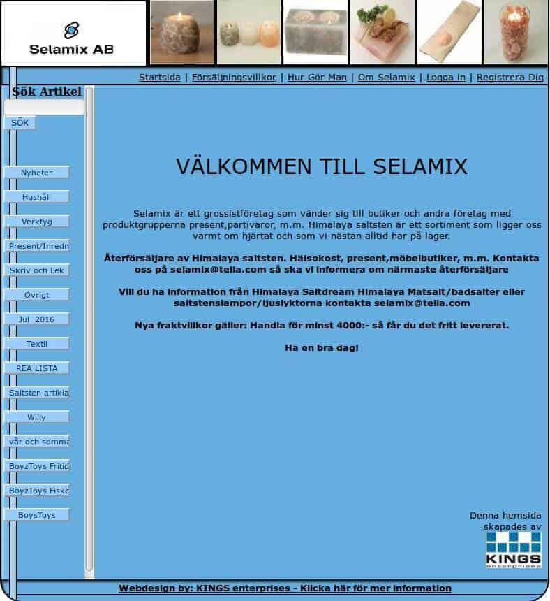 Webbsida - Selamix Före