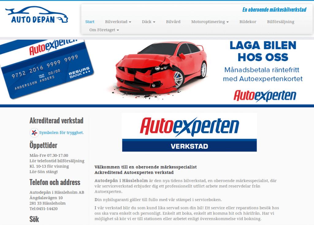 Webbsida - Autodepån efter
