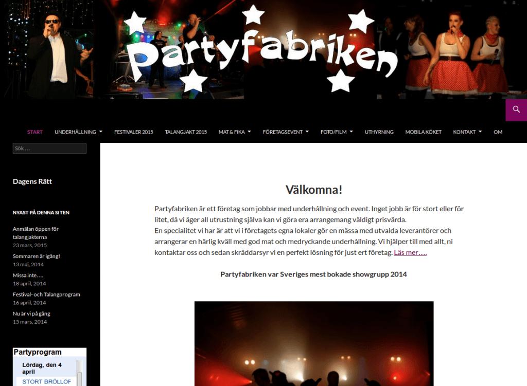 Webbsida - Partyfabriken Efter
