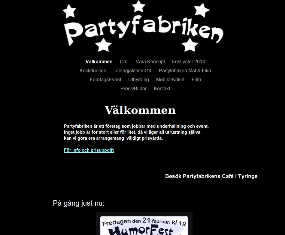 Webbsida - Partyfabriken Före