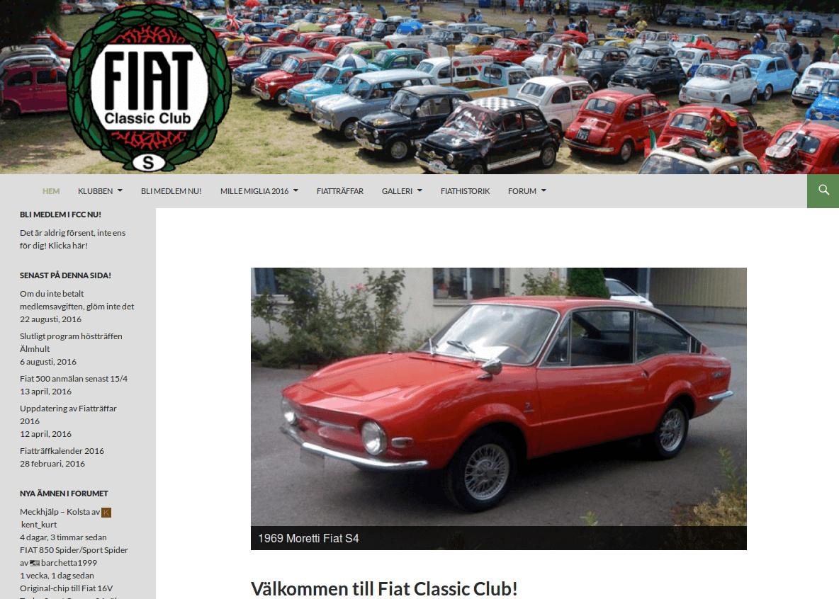 Webbsida - Fiat Classic Club efter