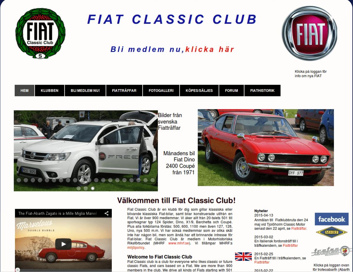 Webbsida - Fiat Classic Club före