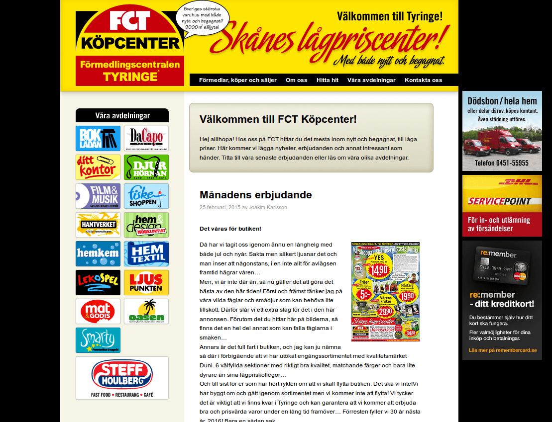 Webbsida - Förmedlingscentralen före