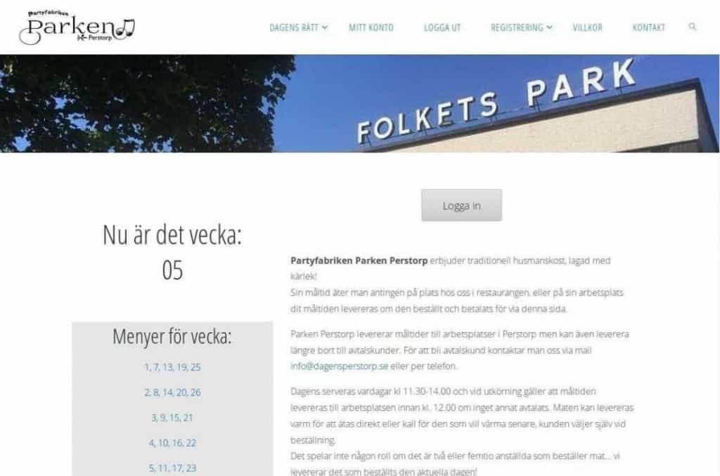 Parken Perstorp Meny Dagens rätt 6 veckor